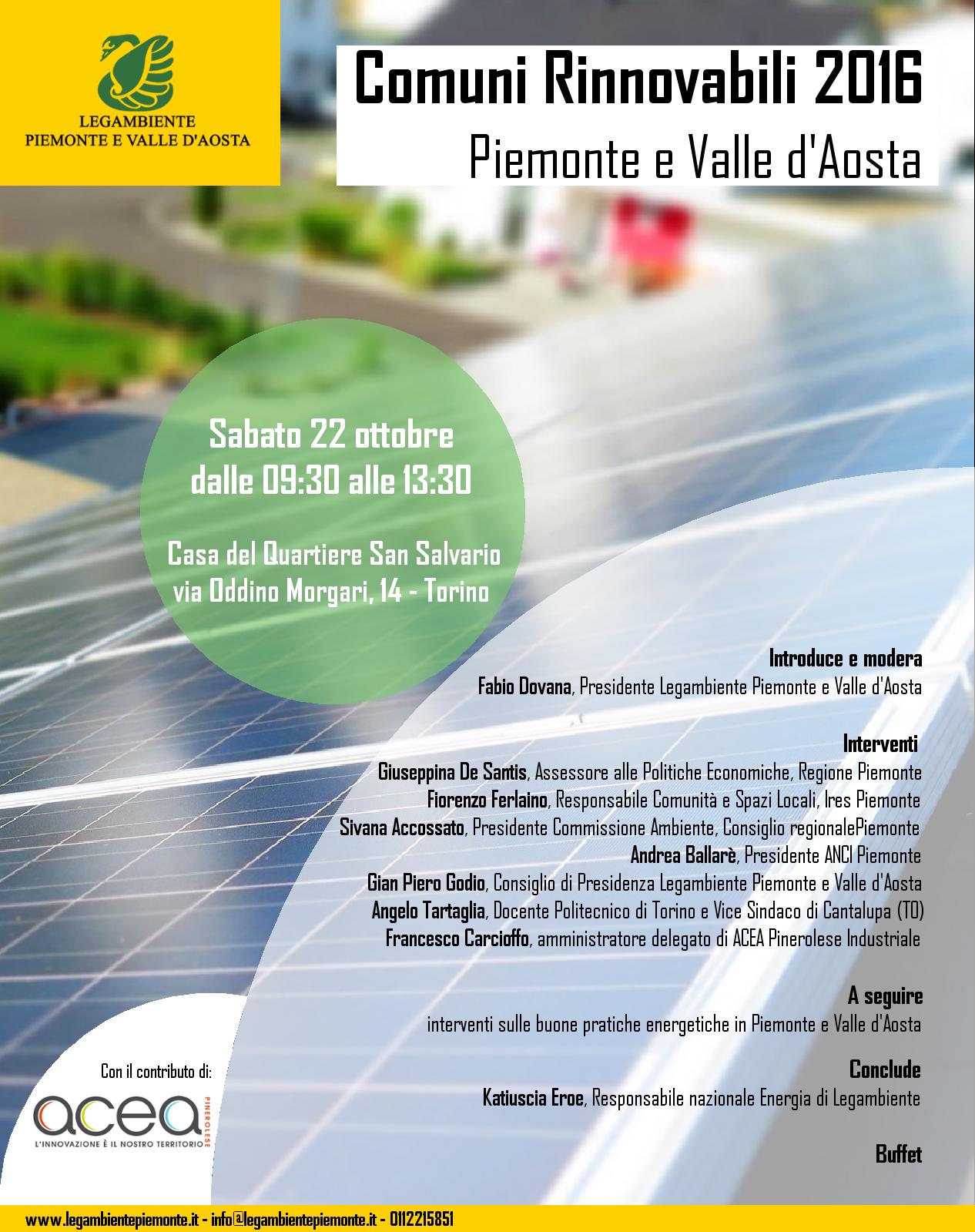 Comuni Rinnovabili 2016 Piemonte e Valle d'Aosta. Appuntamento sabato 22 ottobre